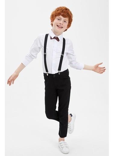 DeFacto Erkek Çocuk Papyonlu Pamuklu Kolları Katlanabilir Gömlek Beyaz